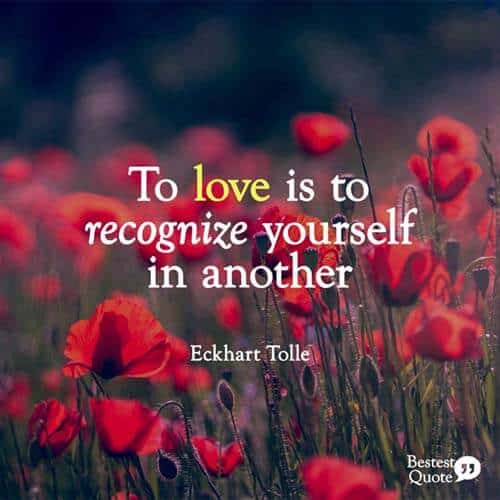 To love is to recognize yourself in another. Eckhart Tolle
