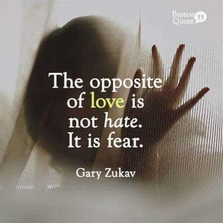 """""""The opposite of love is not hate. It is fear."""" Gary Zukav"""