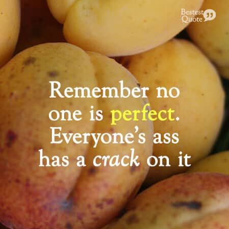 'Remember no one is perfect. Everyone's ass has a crack on it.' Funny Quote about being imperfect