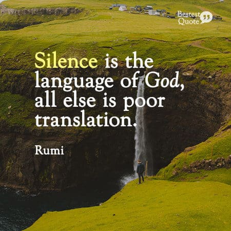 """""""Silence is the language of God, all else is poor translation."""" Rumi"""