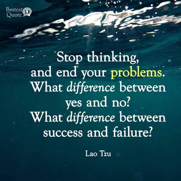 """Stop thinking, and end your problems. What difference between yes and no? What difference between success and failure? Must you value what others value, avoid what others avoid?"" Lao Tzu"