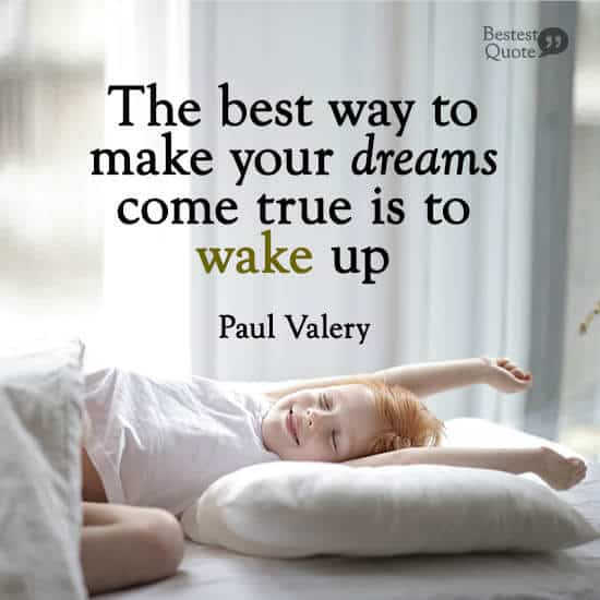 """The best way to make your dreams come true is to wake up."" Paul Valery"