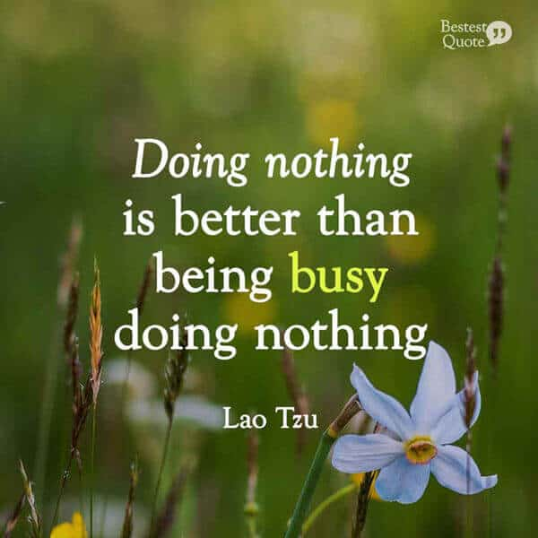 """Doing nothing is better than being busy doing nothing."" Lao Tzu"