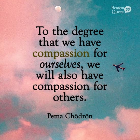"""""""To the degree that we have compassion for ourselves, we will also have compassion for others."""" Pema Chodron"""