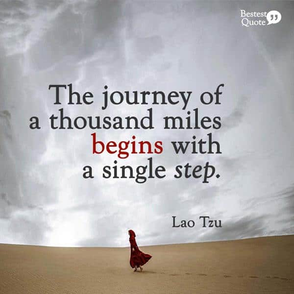 """The journey of a thousand miles begins with a single step."" Lao Tzu"