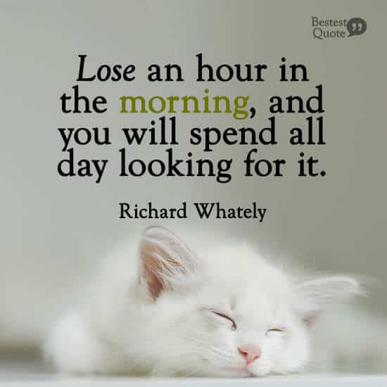 """Lose an hour in the morning, and you will spend all day looking for it.""  Richard Whately"